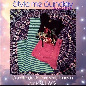 Beach bundle set M/L maxi, shorts& tank boho babe